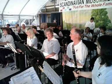 Band getting ready to play in Scandinavian                 Midsummer Festival